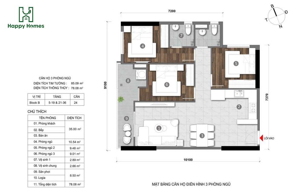 06 Căn hộ 3 phòng ngủ - CÔNG TY CỔ PHẦN ĐẦU TƯ & KINH DOANH BẤT ĐỘNG SẢN HAPPY HOMES